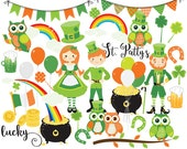 St Patrick's day clipart - St. Patty's clip art owls St Paddy St Paddy's holiday Irish leprechaun flag rainbows pot of gold clover lucky