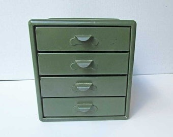 Vintage 1940's Khaki Green Small Table Top 4 Drawer Metal Supplies Cabinet, Button Cabinet, Sewing Cabinet, Original Art Palette Label