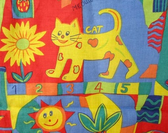 One Yard Length of Vintage Cotton Children's Imagery Fabric, Crayon Colors, Animals, Words, Mansion Fabrics, Quilts, Nursery Decor, Creative