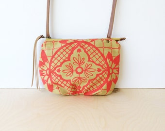 date purse  • small crossbody bag - geometric floral print • neon hot pink - hand screenprinted - light mustard canvas • talavera