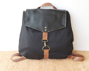 backpack • leather and  canvas backpack • black faux leather - black canvas - brown leather - black on black • small back pack purse