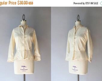 STOREWIDE SALE 1950s Silk Blouse / Vintage 50s Cream Silk Button Down Blouse / Hadley Silk Shirt
