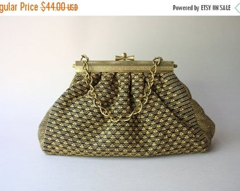 STOREWIDE SALE 1930s Purse / Vintage 30s Golden Lurex Fabric Bag / 1940s Chain Handle Brass Frame Bag
