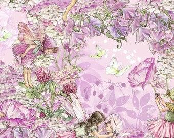 Flower Fairy Cicely Mary Barker Petal Pink Fairies fabric 1 yard