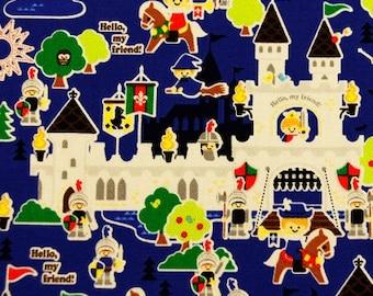 Half Yard Japanese Cotton Fabric Push Pin Kokka Boy Castle Knight Cowboy Adventure 2 colors to choose