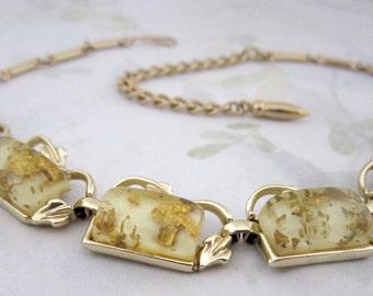 vintage gold embedded lucite gold tone adjustable choker necklace - j5938