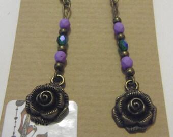 Antique Bronze Rose Flower Earrings 4
