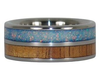 Light Koa and Fire and Ice Lab Opal Titanium Rings