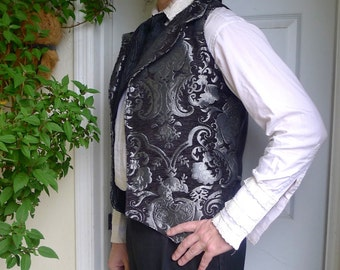 Black and Silver Medieval Tapestry Steampunk Victorian Lapeled Gentlemen's Vest