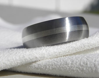 Ring, Wedding Band, Domed Titanium with a 2mm solid sterling silver stripe