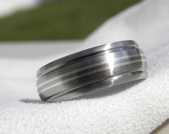 Titanium Ring, Silver Pinstripes with Grooves Ring, Brushed Finish