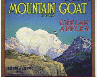 Mountain Goat Chelan Apples label Washington