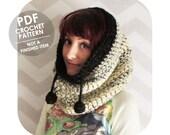 PDF crochet pattern - Giant cozy drawstring cowl hood - INSTANT DOWNLOAD