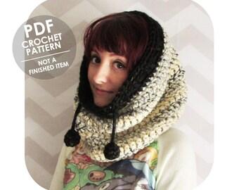 crochet pattern - chunky cowl - cowl hood - huge cowl - cozy cowl hood - drawstring hood pompoms - jumbo cowl - urban cowl - winter cowl
