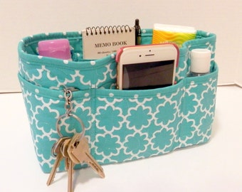 """Purse Organizer Insert/Enclosed Bottom  4"""" Depth/ Teal and White"""