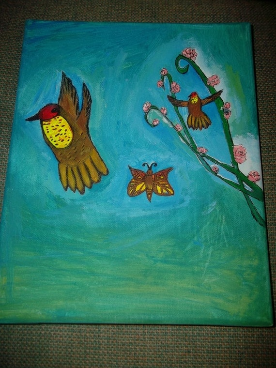 Ruby Topaz Hummingbird Acrylic Painting on Canvas with Red and Yelllow Butterfly and Pink Flowers Valentines Gift for Her Mom Grandma Friend