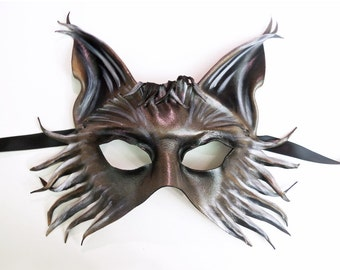 Wolf Fox Dog Leather Mask grey black brown finer tendrils and extra detail