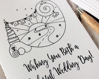 Wedding Day Card. Wedding Card. Wedding Day Cards. Wedding Cards. Wishing You Both a Wonderful Wedding Day. Hand Drawn Illustration. Cards.