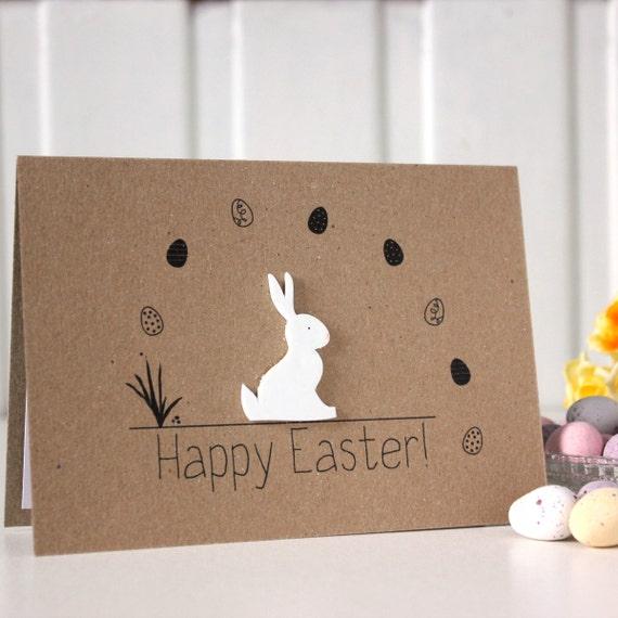 Handmade Easter Card. Easter Bunny Card. by LittleSilverleaf