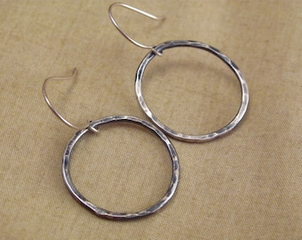 Large Sterling Wire Circle Ring Earrings Hammered