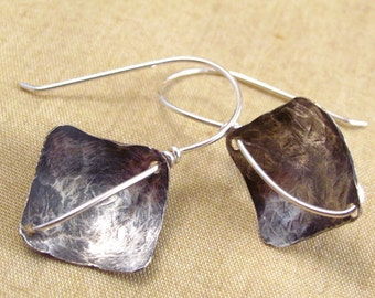 Sterling Silver Wire Wrapped Square Hammered Earrings