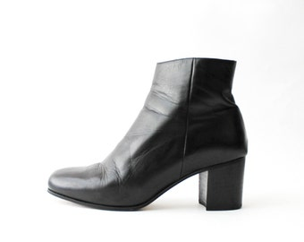 1990's J Crew Black Leather Chelsea Ankle Boots