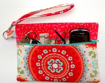 Orange Floral Wristlet, Turquoise Suzani Clutch, Front Zippered Small Purse, Womens Orange Wallet, Makeup or Camera Bag, Phone Holder