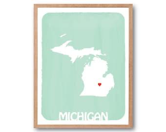 MICHIGAN Map Light Apple Green - Personalized Art Print Watercolor Style Love State Map Wedding Birthday Anniversary GIft Children Wall Art