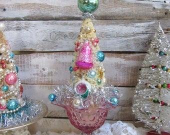 Bottlebrush Tree, Pink Bottle Brush Tree, Vintage Ornament Bottlebrush Tree,  Sisal Tree, Lefton Ruffled Glass Compote, Pixie