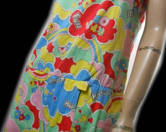 Vtg 60s Rainbow Flower Power Psychedelic Cosmic Hippie Peace Love Hearts Rave Kawaii Seapunk Club Kid Mini Shorts Skorts Dress Romper Jumper