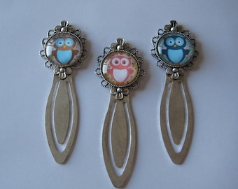 Brown Owl OR Pink Owl OR Blue Owl Antiqued Silver Clip Style Bookmark