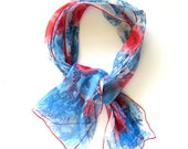 Vintage VERA Scarf - Floral Design in Blue and Red - Rolled Hem Rectangular Long Sheer Scarf