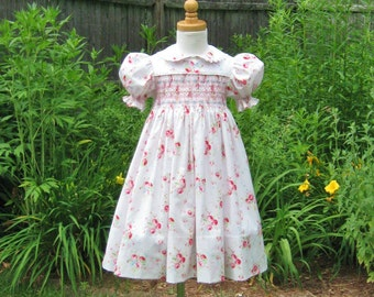 Hand smocked toddler dress, Pink roses, Size 3/3T, ready to ship, Easter dress, special occasion, flower girl dress, heirloom, shabby roses