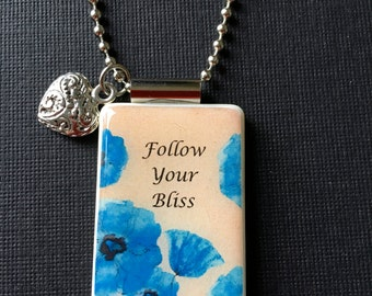 Pendant, Mahjong, Follow Your Bliss, Flowers, Necklace, Jewelry, Heart Charm, Ball Chain