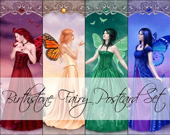 Birthstone Fairy Postcard Set (4)