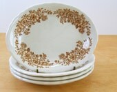 Vintage Restaurant Ware Plates • Small Oval Brown Floral Plates • Sterling China Restaurant Mini Plates