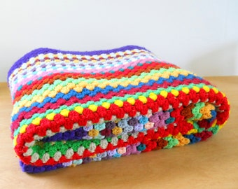 Vintage Colorful Afghan • Expanding Squares Rainbow of Colors  • Thick Soft Acrylic Afghan