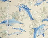 Dolphin fabric blue dolphin fabric blue lagoon fabric ocean fabric beach fabric coastal cottage home decorating fabric FREE SHIPPING  45""