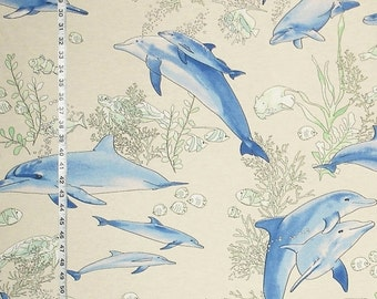 Dolphin fabric blue ocean interior home decorating material  45""