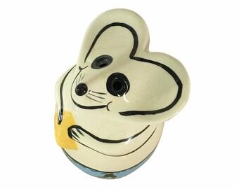 Retro Cheese Shaker, Vintage Kitchen, Ceramic Mouse