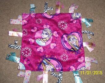 """Homemade Minky Fleece """"Disney Frozen"""" Sisters ribbon blanket"""
