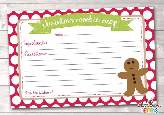 Items similar to Printable Christmas Cookie Exchange Recipe Card ...