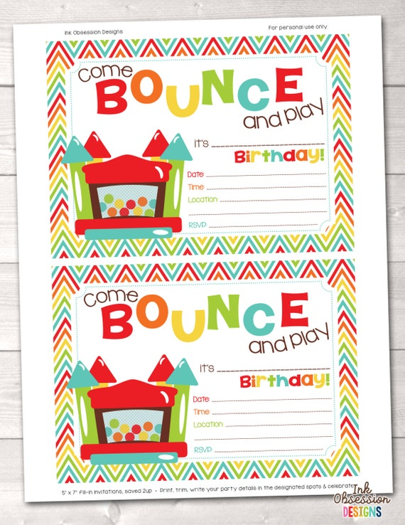 Bouncy Castle Instant Download Birthday Party Invitation – Bouncy Castle Party Invitations
