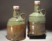 2 Handmade  Wide Top Stoneware Pottery Flip Top Beer 29oz Growler / Howler.
