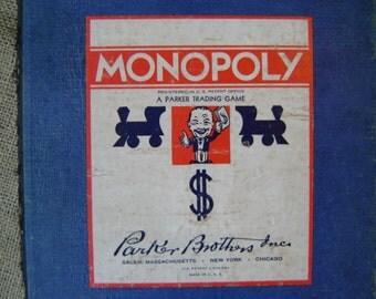 Monopoly Game Board Vintage Monopoly Game Board 1940s No Game Pieces No Parts