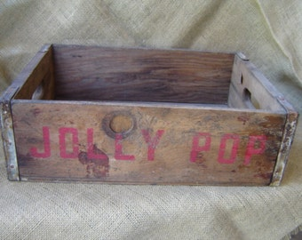 Vintage Soda Crate Jolly Pop Soda Crate Wooden Crate Wedding Decor Farmhouse Chic