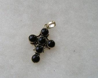 SALE Steling Silver 925 Black onyx Cross Pendant