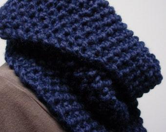Knit Asymmetric Chunky Cowl Bulky Yarn Dark Blue
