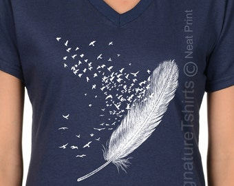 Feather Birds Shirt, Graphic Tee, Women V-neck T Shirt, Feather Tshirt, Women Bird Tshirt, Bird T Shirt, Feather Shirt Feather T Shirt, Gift