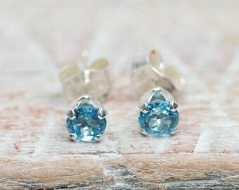 Swiss Blue Topaz Stud Earrings 4mm Blue Topaz Post Earrings
